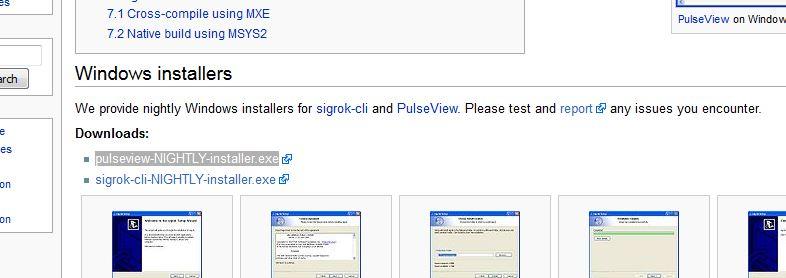 Windows用sigrokソフトのダウンロード