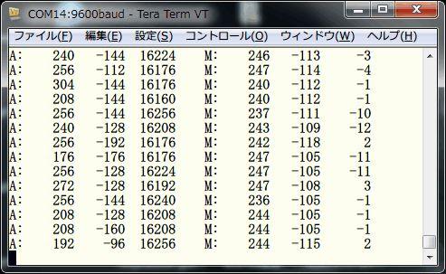 LSM303DLHによるデジタルコンパス・加速度プログラムの実行