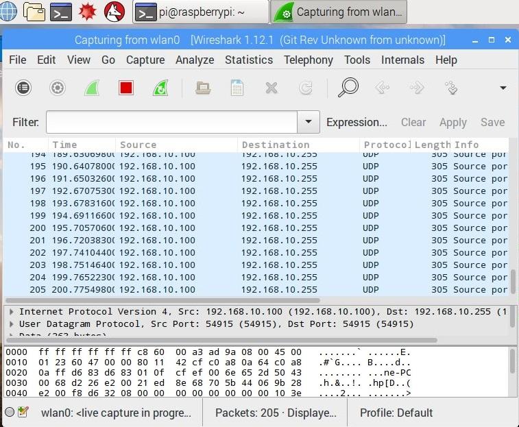 Wiresharkの実行画面