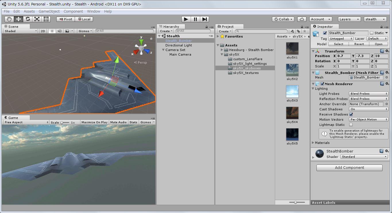 unity5ゲーム開発画面-Stealth Bomberの選択