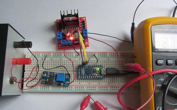 Pro Microとフルブリッジドライバ「L298N」の接続