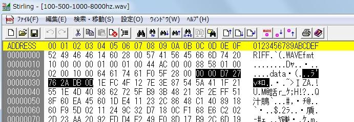 Wavファイルのバイナリエディタ表示