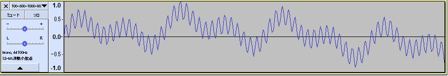 audacityアプリによる波形の確認