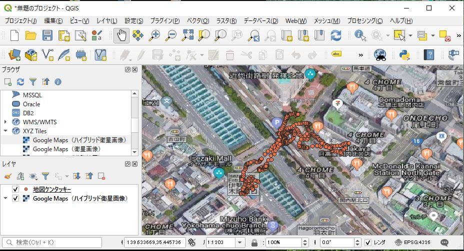 ファイルに保存した緯度/経度データの表示